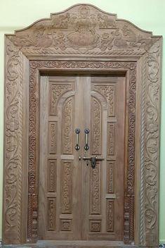 Wooden Front Door Design, Wood Bed Design, Double Door Design, Door Gate Design, Wood Front Doors, Single Main Door Designs, Single Floor House Design, Temple Design For Home, Wardrobe Door Designs
