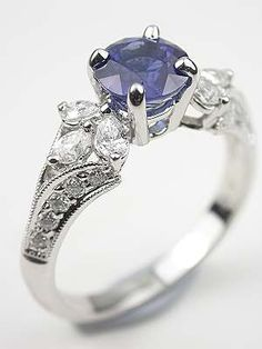 Sapphire Engagement Ring with Pear Shaped Diamonds, RG-3090e
