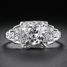 1.76 Carat Art Deco Platinum and Diamond Engagement Ring