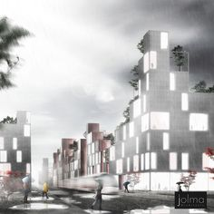 Jolma Architects specializes in innovative urban design. Utilizing the latest in urban research and development we create smart, sustainable cities and neighborhoods that are attractive environments in which to live and work. Landscape Architecture, City Architecture, Sustainable City, Wooden Buildings, Land Use, Futuristic City, Circular Economy, Alvar Aalto, Design Research