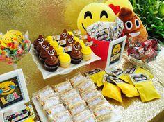 Sweet treats/candy buffet for Chloe's omg emoji party... Emoji cupcakes