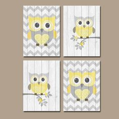 Yellow Gray OWL CANVAS or Prints Wall Art Wood Effect by TRMdesign