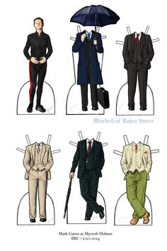 Sherlock Holmes paper doll: Mark Gatiss as Mycroft Homes BBC 2010 - 2014 - Number 15 in a series. A celebration of sartorial splendour.