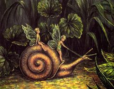 Fairies riding a Snail-- See Spiritwater Gardens for our I Believe in Nature…