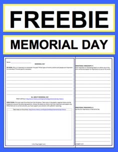 "Memorial Day Activities: Free printables: Free NO PREP Memorial Day student printables. Simply print, project & teach this MEMORIAL DAY!! All you have to do is print the included article link. File includes link to MEMORIAL DAY History & Traditions Article, Informational Paragraph Reading Response, Informational Paragraph Writing Prompt, Informational ""How To: Paragraph Writing Prompt, Persuasive Paragraph Writing Prompt, Creative Paragraph Writing Prompt, Holiday Acrostic Poem and Holiday…"