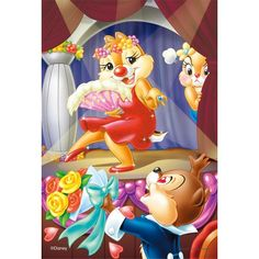 Official Disney Jigsaw of Chip falling in love with Dale thinking it's Clarice while Clarice is backstage getting upset.