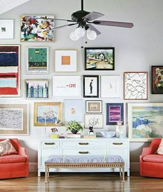 Eclectic frames wall. A bit too much for me but it could work