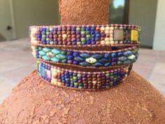 Loom Bracelet Patterns, Jewelry Patterns, Beading Patterns, Jewelry Ideas, Beaded Wrap Bracelets, Beaded Jewelry, Seed Bead Projects, Diy Projects, Super Duo Beads