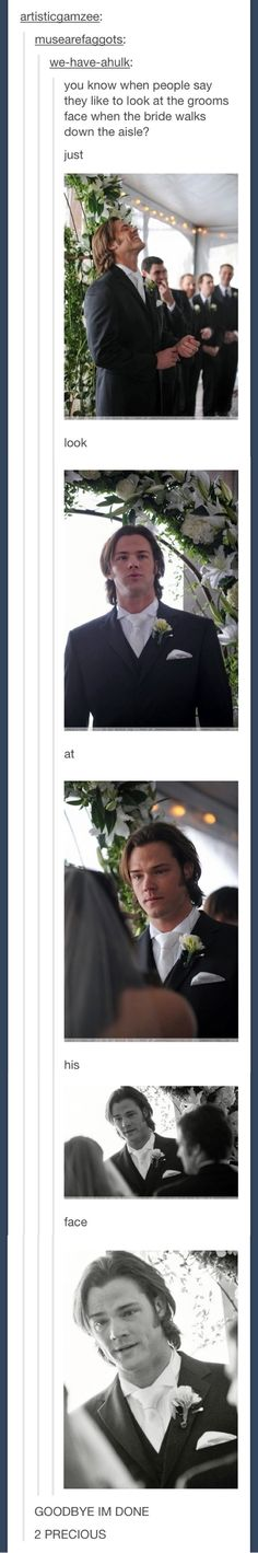 Jared's face on his wedding day
