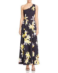 KAREN MILLEN Atelier Orchid Print One-Shoulder Maxi Dress