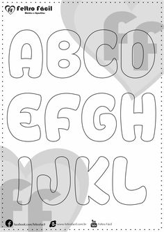 ALPHABET LETTER MOLDS - We selected here in this post some molds of alphabet letters for felt productions already edited in natural size! Quiet Book Templates, Alphabet Templates, Different Lettering, Felt Name Banner, Felt Animal Patterns, Alphabet And Numbers, Felt Crafts, Hand Lettering, Coloring Pages