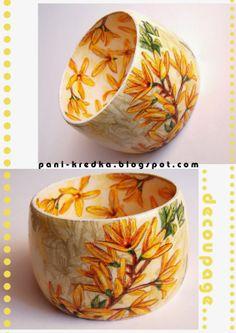 bransoletka decoupage kwiaty