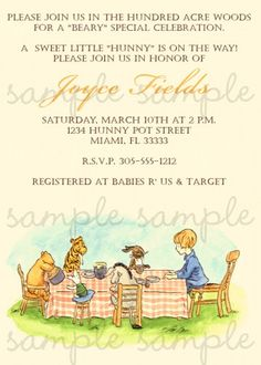 Classic Winnie the Pooh Invitation | digiprintsbytnl - Cards on ArtFire
