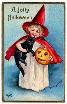 Vintage Halloween Postcard Signed by Ellen Clapsaddle with Young Girl and Black Cat This offering is for a signed Halloween vintage postcard that is in good condition and is postmarked but the inform. Retro Halloween, Halloween Imagem, Vintage Halloween Cards, Halloween Clipart, Vintage Holiday, Fall Halloween, Halloween Crafts, Happy Halloween, Halloween Decorations