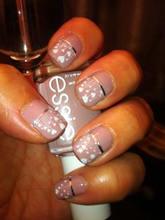 """First attempt of Konad stamping.   Essie """"Lady Like"""" with white Konad polish and silver chart tape (1/32"""")"""