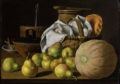 Luis Meléndez (Spanish, 1715 - 1780), Still Life with Melon and Pears, c.1772, oil on canvas, overall: 63.8 x 85.1 cm (25 1/8 x 33 1/2 in.) Museum of Fine Arts, Boston, Margaret Curry Wyman Fund