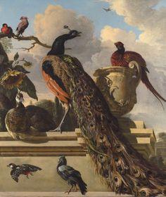 Melchior d'Hondecoeter (1636-1695), Oiseaux dans un Parc.