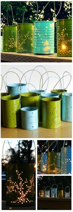 Making bright DIY tin lanterns for your wedding decorations. Vbs Crafts, Diy And Crafts, Crafts For Kids, Outdoor Projects, Projects For Kids, Craft Projects, Ideias Diy, Decoration, Christmas Crafts