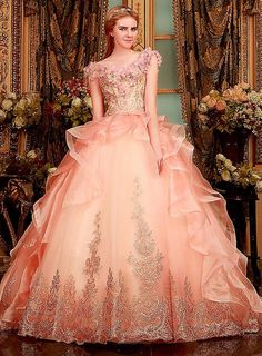 2015 Classic Noble Princess Skirt Beading Organza Back Lace-Up Sweep Train Ball Gown Wedding Dresses Plus Size, $198.96 | DHgate.com