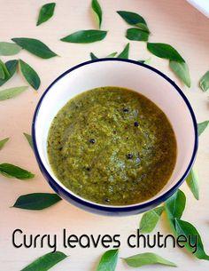 Curry leaves chutney/Karuveppilai chutney recipe without coconut for idli,dosa ! Veg Recipes, Spicy Recipes, Curry Recipes, Indian Food Recipes, Vegetarian Recipes, Cooking Recipes, Recipies, Indian Snacks, Wine Recipes