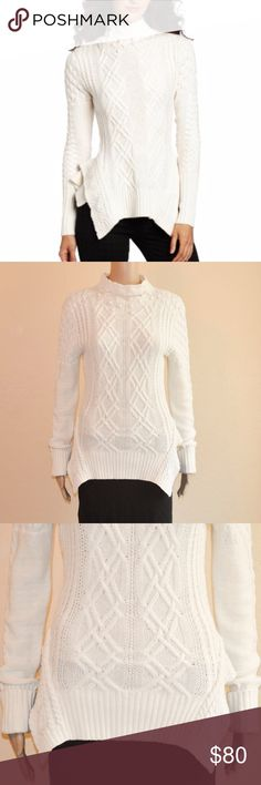 """NWT BCBG Maylin Gardenia Cable Turtleneck Sweater BCBG MaxAzria Mylin cable knit turtle neck sweater in Gardenia (off white/light cream). Unique peplum detail brings fashion-forward appeal to this classically cozy piece.  Size: M  Measurements Laying Flat -  Underarm to Underarm: 18"""" Shoulder to Hem: 26 1/2"""" Shoulder to Cuff: 29 1/2"""" (uncuffed)  Material: 50% Cotton, 25% Wool & 25% Nylon  Condition: BNWT - small imperfection on the left side of the turtleneck. BCBGMaxAzria Sweaters"""