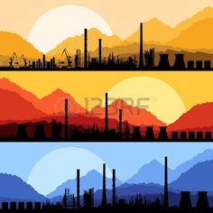 Industrial oil refinery factory landscape illustration vector Stock Vector