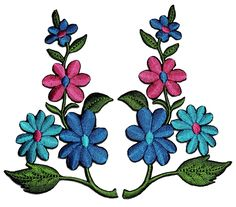 1 Pair Flower Wildflower Floral Bouquet DIY Applique Embroidered Sew Iron on Patch FW-010 *** Click image for more details.