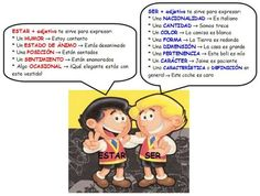 Ser y estar examples - too many categories, should break down into: origin, location, state of being, characteristic, etc.