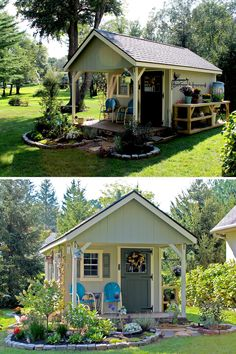 Our customer wanted a space where she could get away from the noise and stress of her everyday life, and escape to this fairy-tale-esque she-shed. Shed Landscaping, Backyard Sheds, Outdoor Sheds, Backyard Retreat, Garden Shed Interiors, Greenhouse Shed, Shed Design, Garden Design, She Sheds