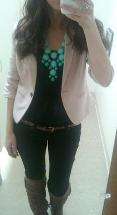 such a cute outfit - love the belt and blazer with boots