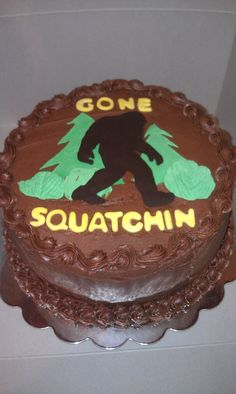 Bigfoot made with chocolate; forest made with fondant. Just awesome.