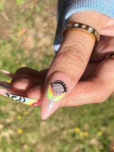 Glue On Nails, Cute Acrylic Nails, Stylish Nails, Trendy Nails, Painted Nail Art, Hand Painted, Hippie Nails, Bunny Nails, Gothic Nails