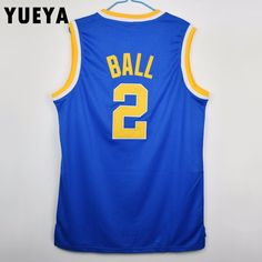 basketball jersey Picture - More Detailed Picture about YUEYA Lonzo Ball  2  College Basketball Jersey Mens Cheap White and Blue S 3XL Picture in  Basketball ... 3e05292ab