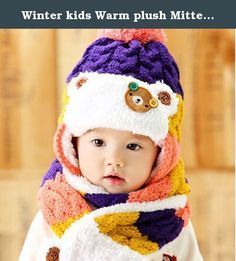 Winter kids Warm plush Mitten Set Knitted Plush Hat Scarf hat suit princess two-piece fitted one for 1-2 years purple. Winter kids Warm plush Mitten Set Knitted Plush Hat Scarf hat suit princess two-piece fitted one for 1-2 years purple.