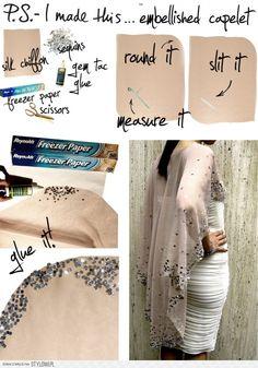 DIY Embellished Silk Chiffon Caplet