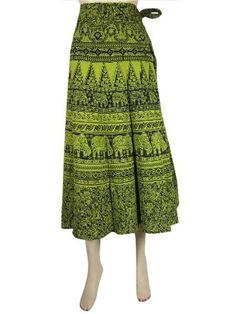 Amazon.com: Gypsy Wrap Skirt Pear Green Black Hippie Cotton Wraparond Coverup 34inch: Clothing