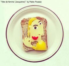 """Immagini dalla serie """"The Art of Breakfast"""" dell'artista Ida Frosk (nel progetto artistico Toast art) """"Picasso on toast"""""""