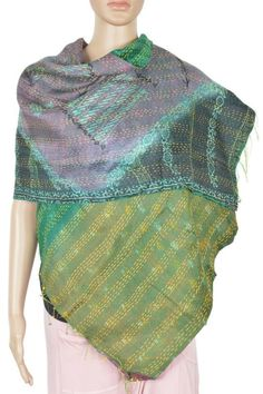 "Vintage Silk Kantha Stole Hand quilted  Scarves hijab head cover 19""x70"" ID5075 #Handmade #Scarf"