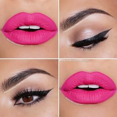Hot pink lips and cat eyeliner