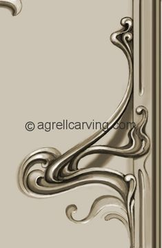 The master for this organic art nouveau handle is carved in wood by the same team that  will be carving the wood decoration - insuring that the quality of movement and flow is  exactly the same throughout the room.