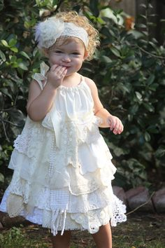 Lace Flower Girl Dress  Vintage Look  Shabby Chic by Edenspring, $69.00