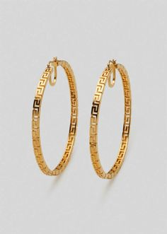 Greca Hoop Earrings from Versace Women's Collection. Seen on the runway, these statement hoop earrings feature an all-over Greca motif. All Versace Jewelry products are lead and nickel free. All materials are hypoallergenic. Gold Jewelry, Jewelery, Women Jewelry, Jewelry Necklaces, Gold Bangles Design, Jewelry Design, Silver Hoop Earrings, Women's Earrings, Silver Hoops