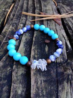 Howlite Sodalite and Moonstone Meditation Bracelet by EmilysReikiBracelets on Etsy