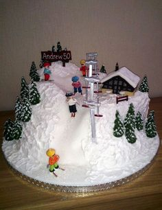 Ski Slope with Skiers Novelty Birthday Cake Novelty Birthday Cakes, Themed Birthday Cakes, Themed Cakes, Snowboard Cake, Mountain Cake, Snow Cake, Christmas Cake Designs, Winter Wonderland Cake, Susie Cakes
