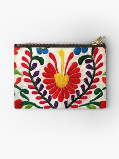 """""""Mexican Flowers"""" Studio Pouches by TinaSalazar Mexican Embroidery, Hand Embroidery Patterns, Embroidery Stitches, Embroidery Designs, Mexican Crafts, Mexican Art, Mexican Flowers, Mexican Fashion, Handmade Bags"""