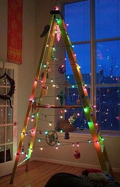 Unusual Christmas Tree's - Marilee Aschwanden - Picasa Web Albums ~@Tammie Parrish-Moyer Dunn- you remember that year that I did this to my easel and used it as my Christmas tree??? Ö Gosh I had forgotten about that!
