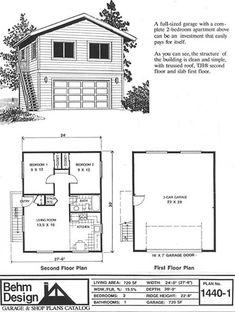 2 Story Car Apartment Garage Plan 1107 1apt 24 X