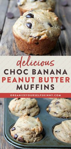 Delicious Choc Banana Peanut Butter Muffins | Healthy Desserts Recipes - Looking for a muffin recipe packed with protein and fiber to keep you satisfied for hours? These wholesome muffins made with bananas, peanut butter, and Greek yogurt are the perfect healthy sweet treat. Organize Yourself Skinny | Healthy Banana Recipes | Healthy Muffin Recipes | Clean Eating #muffins #healthysnacks #healthydesserts #healthybaking #healthyeating Banana Recipes Clean Eating, Healthy Banana Recipes, Healthy Desserts For Kids, Banana Dessert Recipes, Quick Easy Desserts, Snacks Recipes, Quick Snacks, Skinny Recipes, Healthy Dessert Recipes