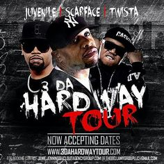 @industry_works  -  It's Official #3DaHardWayTour is accepting dates!! Oct/Nov a REAL Legends Tour with @juviethegreat @brothermob @twistagmg  promoters its worth looking into!!! #CloutAgencyGroup  www.3DaHardWayTour.com watch for cities and Dates!!!!