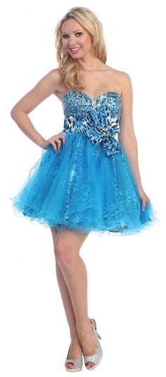 Turquoise cheetah print prom dress looks stunning